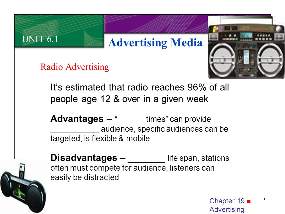 Advertising Media UNIT 6.1 Radio Advertising