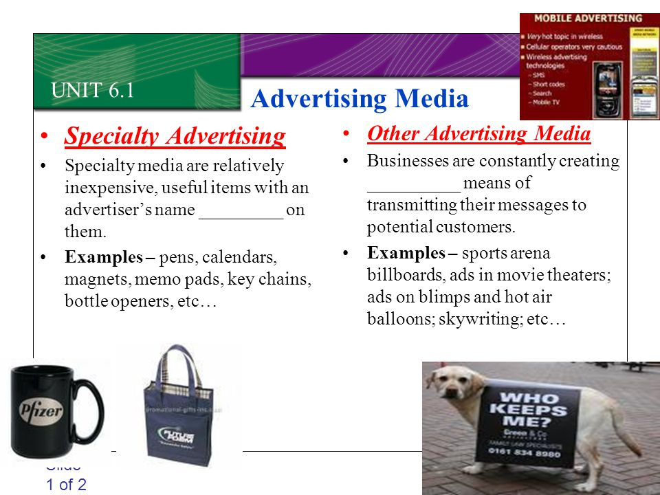 Advertising Media Specialty Advertising UNIT 6.1