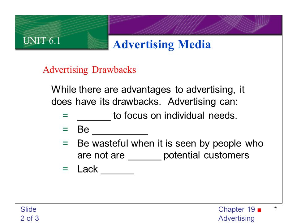 Advertising Media UNIT 6.1 Advertising Drawbacks