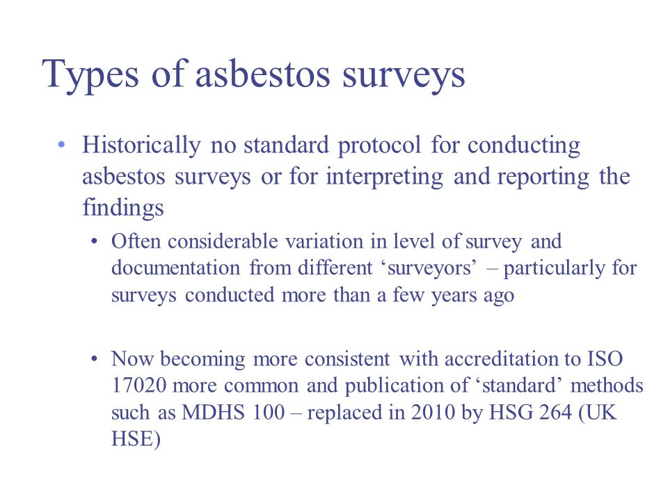 types of surveys methods w504 asbestos product types uses in buildings and surveys 8588