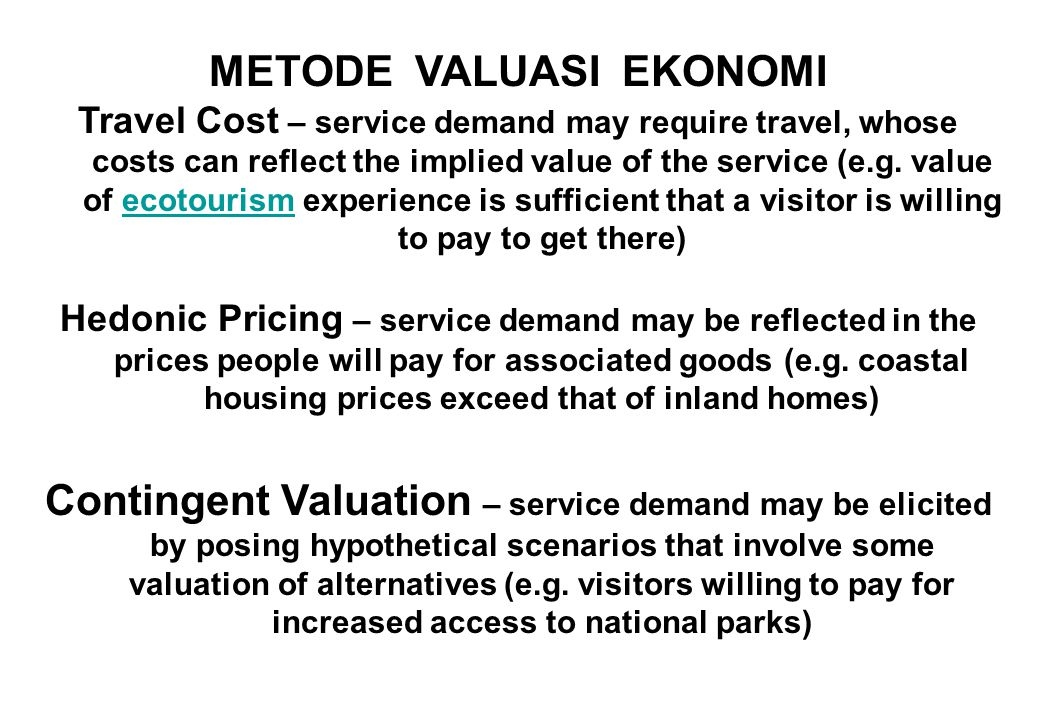 Problematik valuasi ekonomi jasa ekosistem ppt download metode valuasi ekonomi ccuart Images