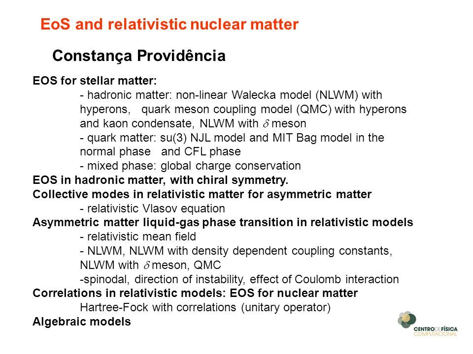 EoS and relativistic nuclear matter
