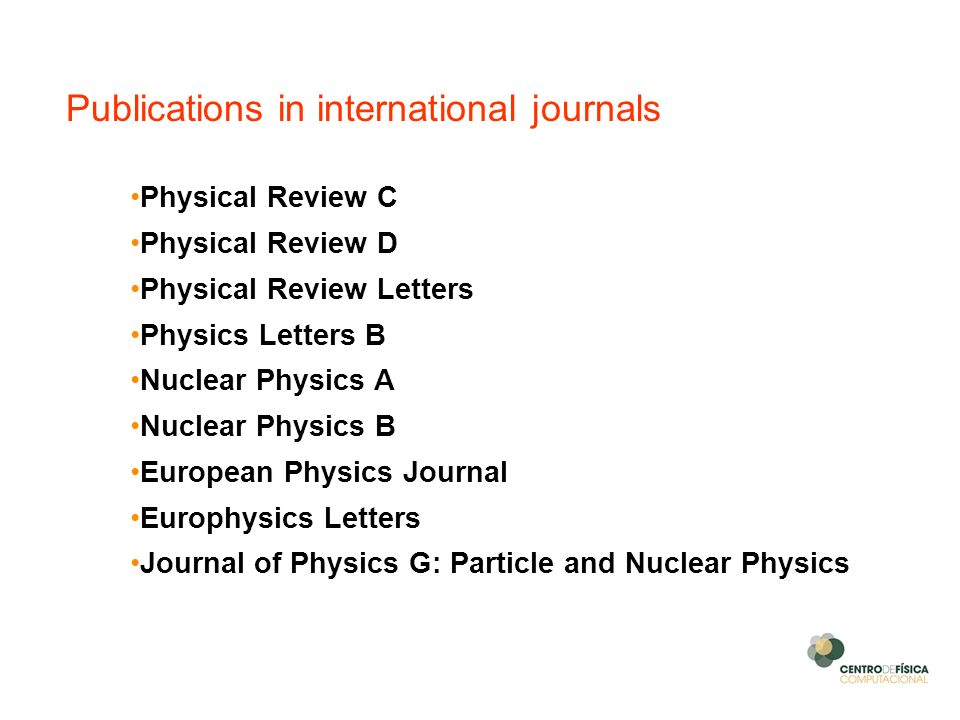 Publications in international journals