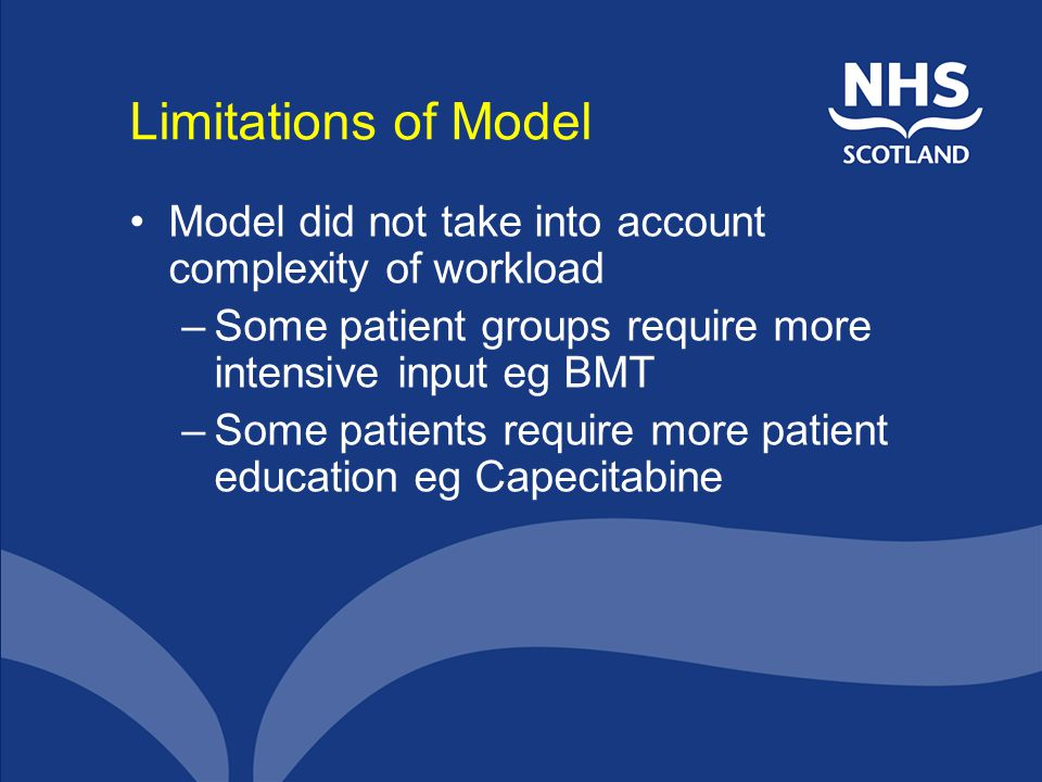 Limitations of Model Model did not take into account complexity of workload. Some patient groups require more intensive input eg BMT.