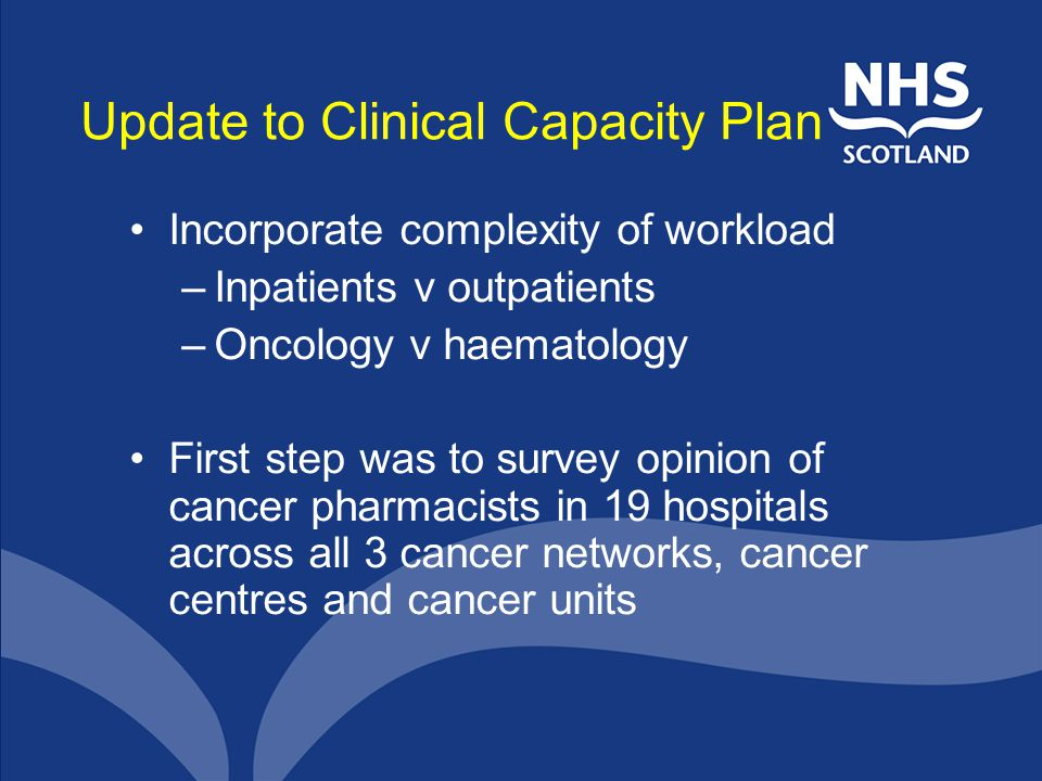 Update to Clinical Capacity Plan