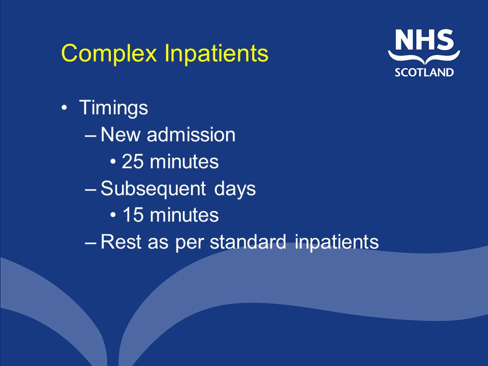 Complex Inpatients Timings New admission 25 minutes Subsequent days