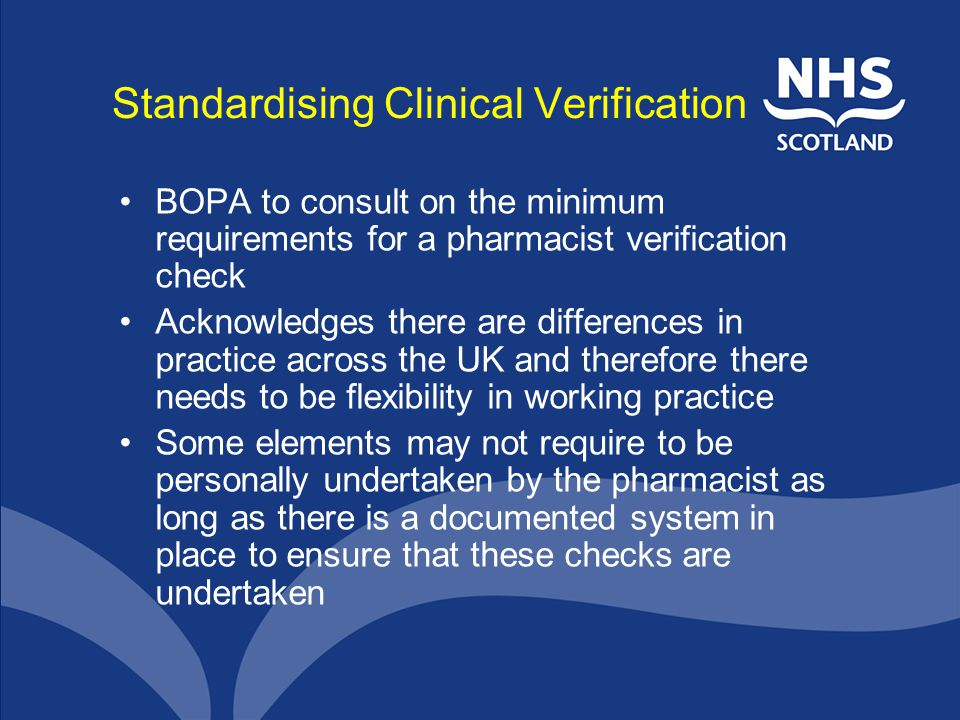 Standardising Clinical Verification