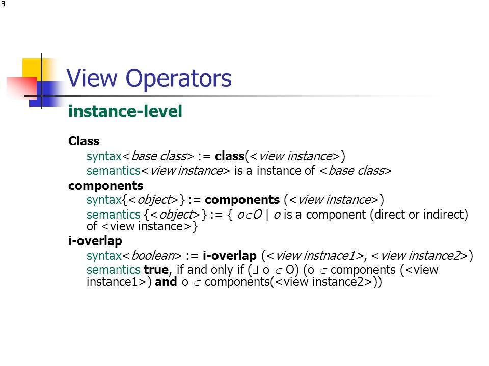 View Operators instance-level Class