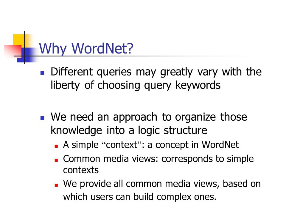 Why WordNet Different queries may greatly vary with the liberty of choosing query keywords.