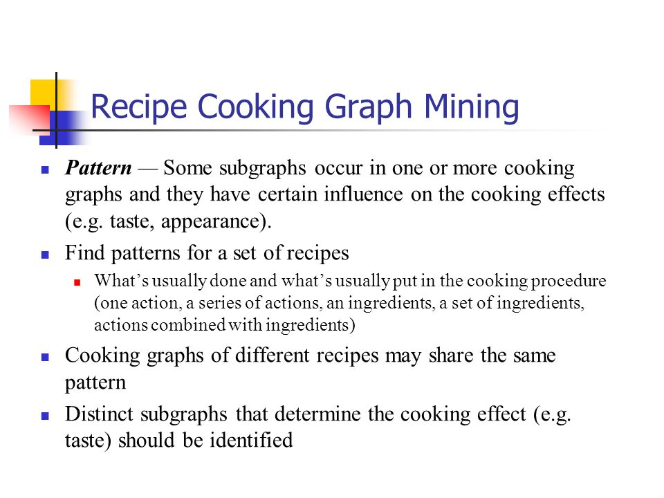 Recipe Cooking Graph Mining