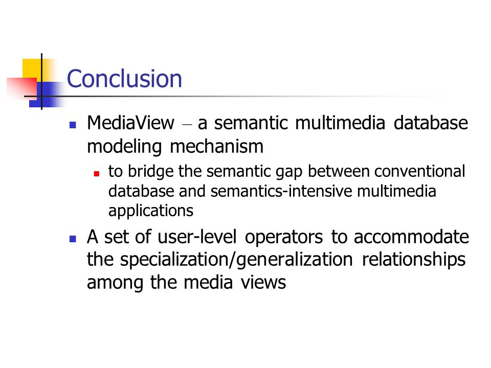 Conclusion MediaView – a semantic multimedia database modeling mechanism.