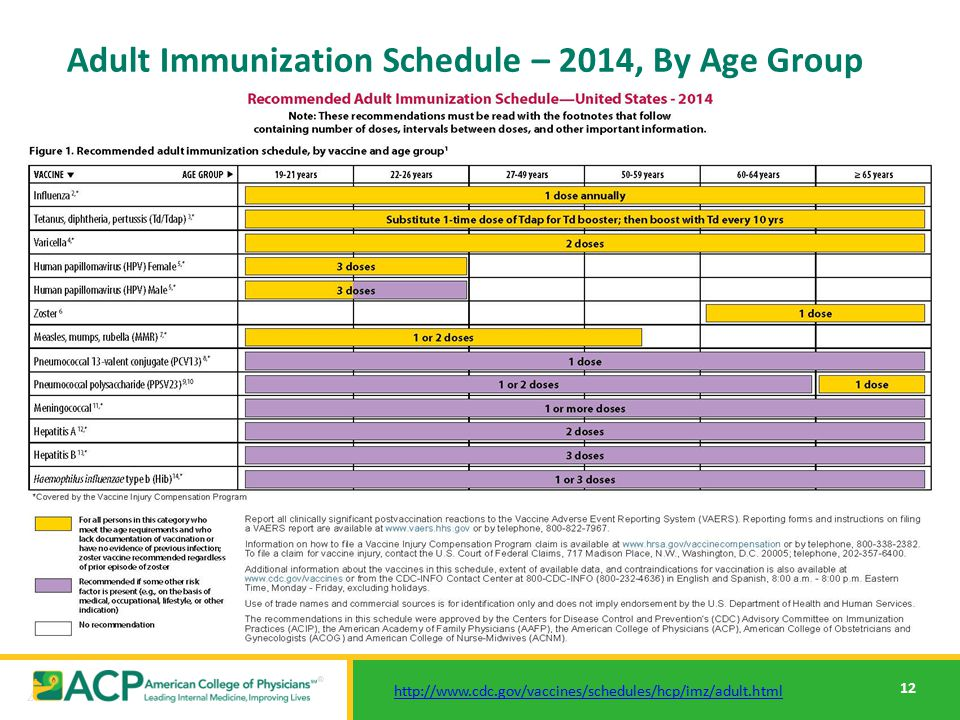 Immunization schedule adult Recommended