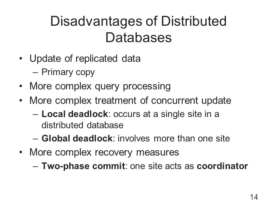 Disadvantages of Distributed Databases