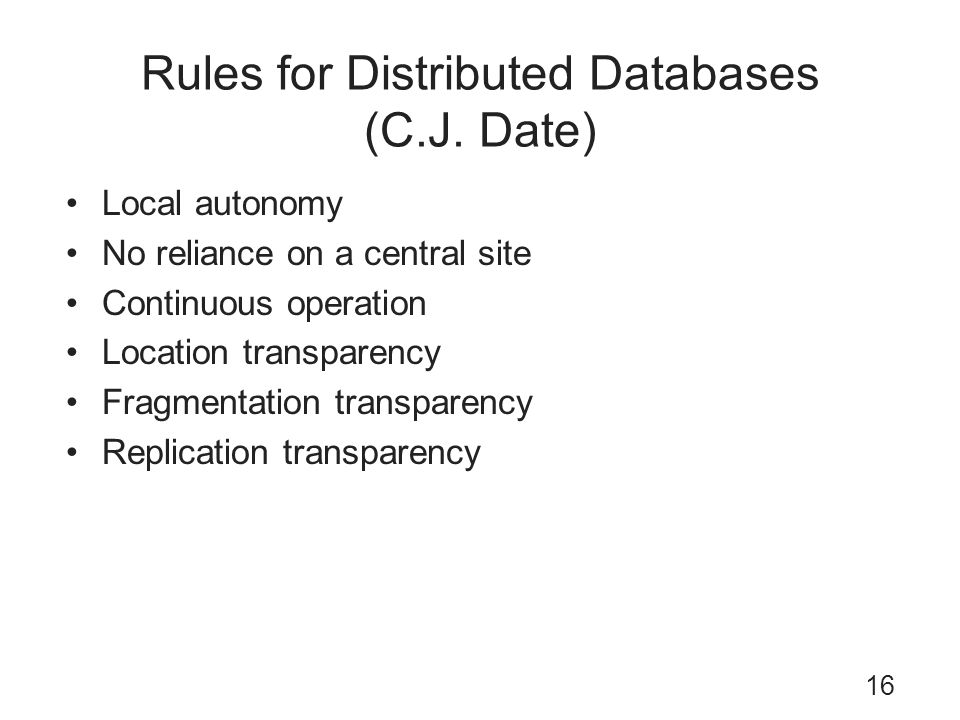 Rules for Distributed Databases (C.J. Date)