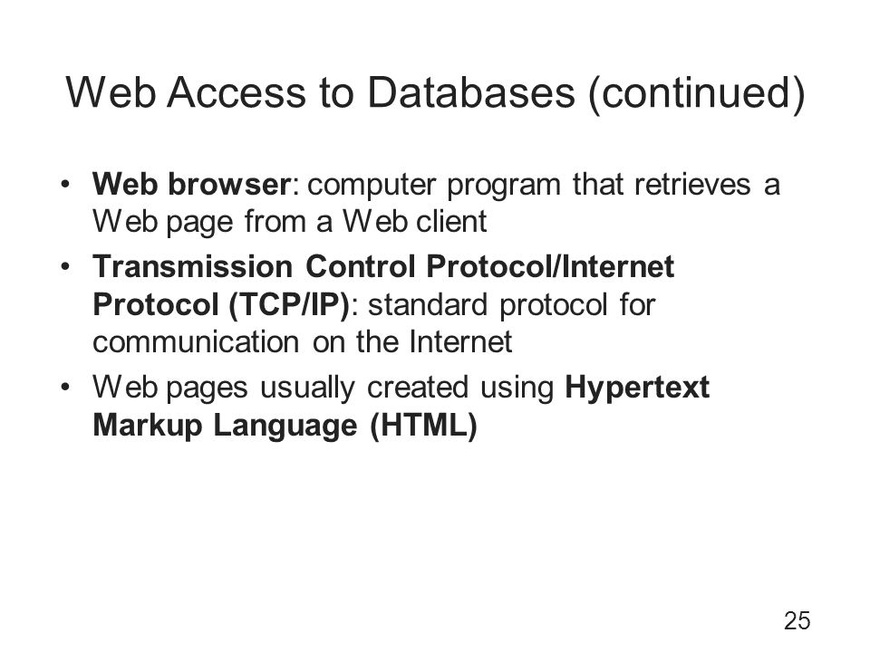Web Access to Databases (continued)