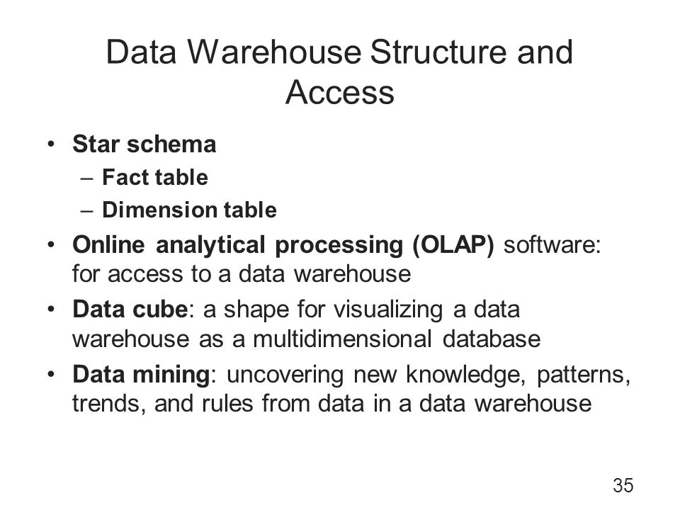 Data Warehouse Structure and Access