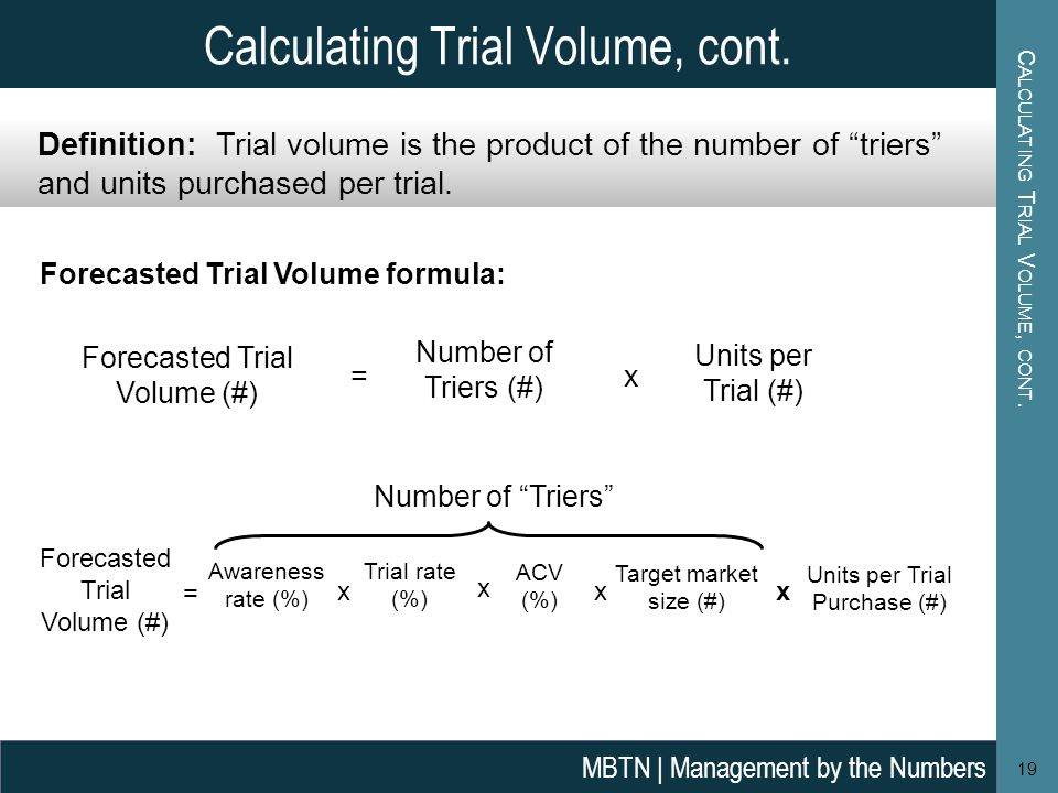 Calculating Trial Volume, cont.