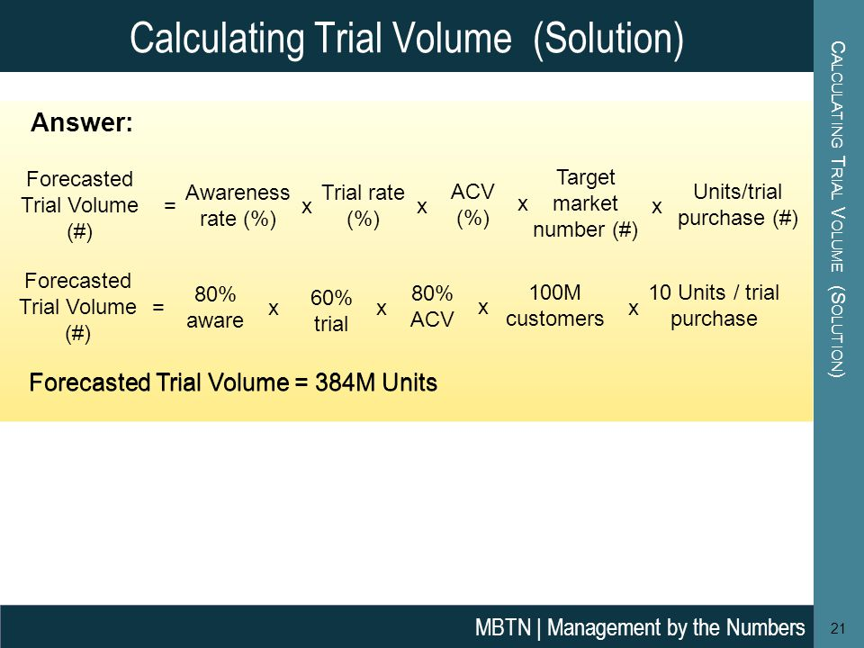 Calculating Trial Volume (Solution)