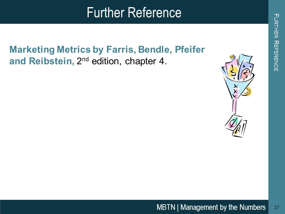Further Reference Further Reference. Marketing Metrics by Farris, Bendle, Pfeifer and Reibstein, 2nd edition, chapter 4.