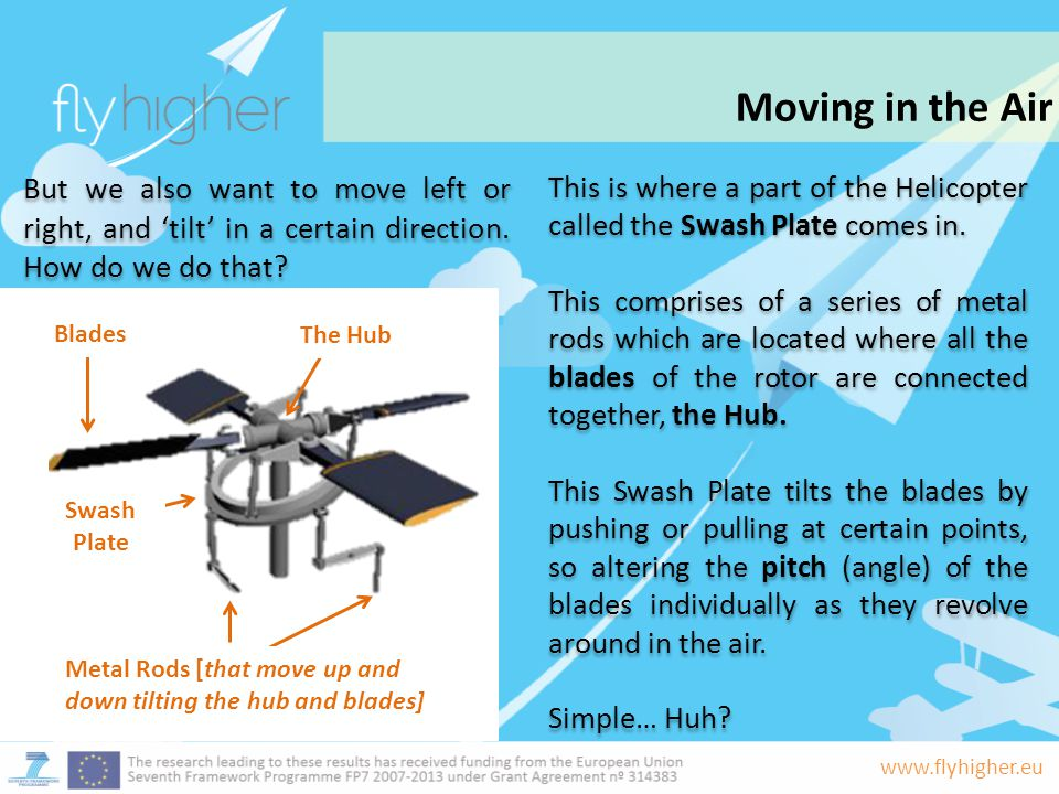 Moving in the Air But we also want to move left or right, and 'tilt' in a certain direction. How do we do that