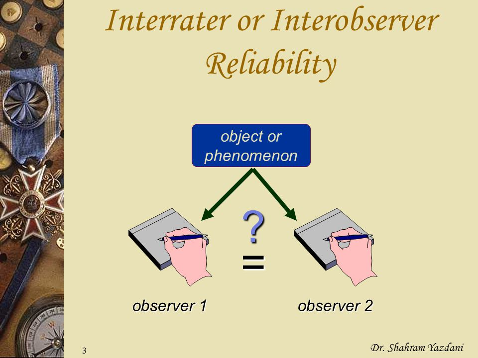 Interrater or Interobserver Reliability