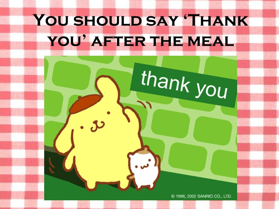 You should say 'Thank you' after the meal