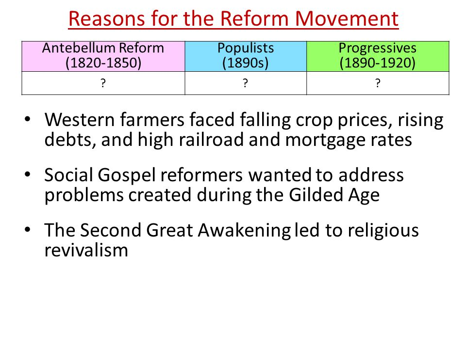 essay on reform movements