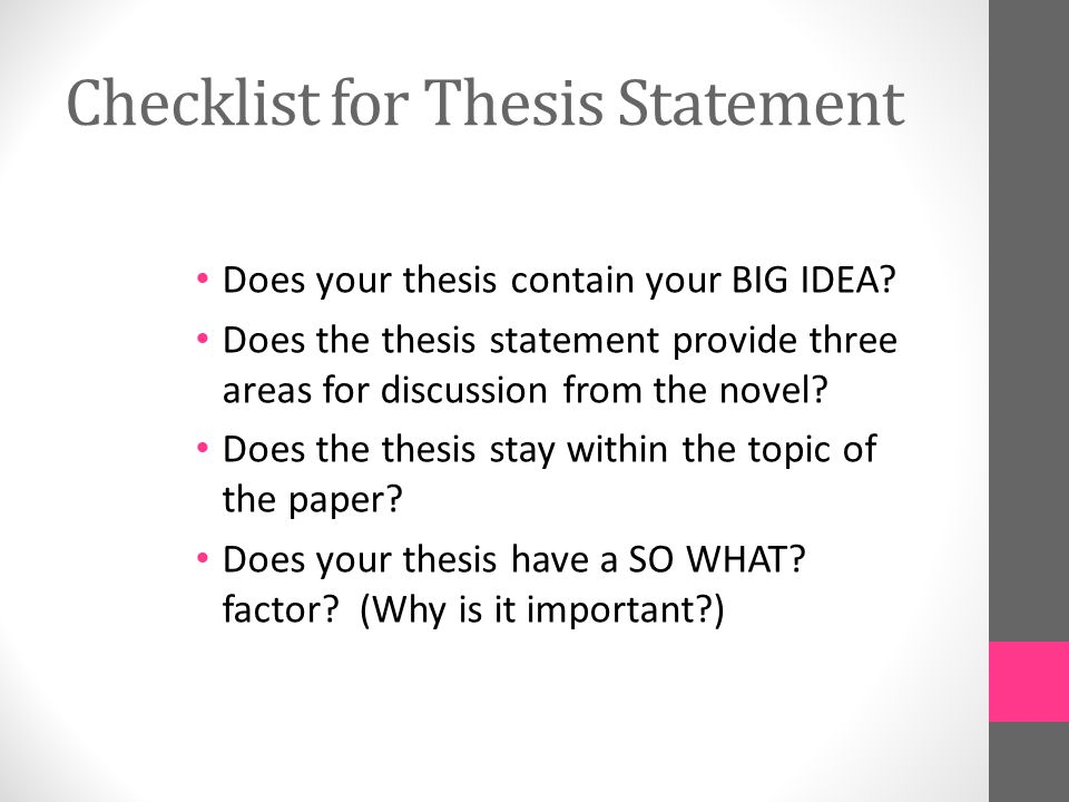 How To Make A Thesis Statement For An Essay  Checklist For Thesis Statement Argument Essay Topics For High School also My Country Sri Lanka Essay English Expository Essay The Outsiders  Ppt Video Online Download Compare And Contrast Essay High School Vs College