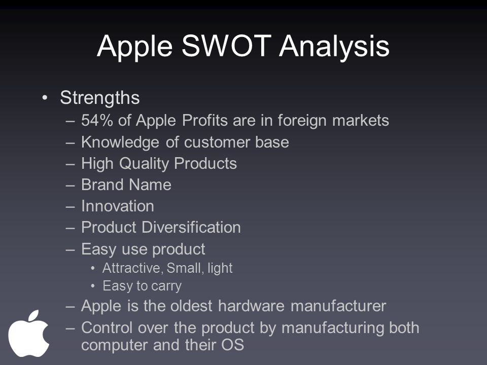 apple s w o t analysis Swot analysis (or swot matrix) is a strategic planning technique used to help a person or organization identify strengths, weaknesses, opportunities, and threats related to business competition or project planning.
