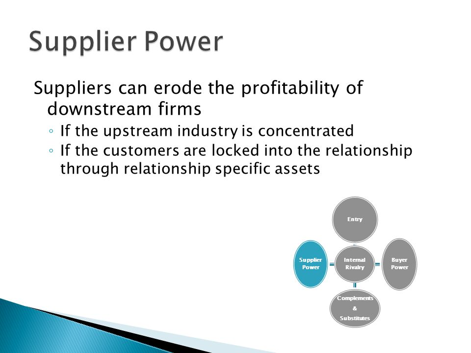 Supplier Power Suppliers can erode the profitability of downstream firms. If the upstream industry is concentrated.