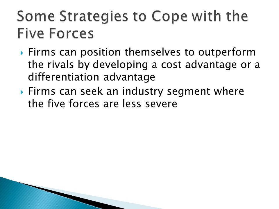 Some Strategies to Cope with the Five Forces