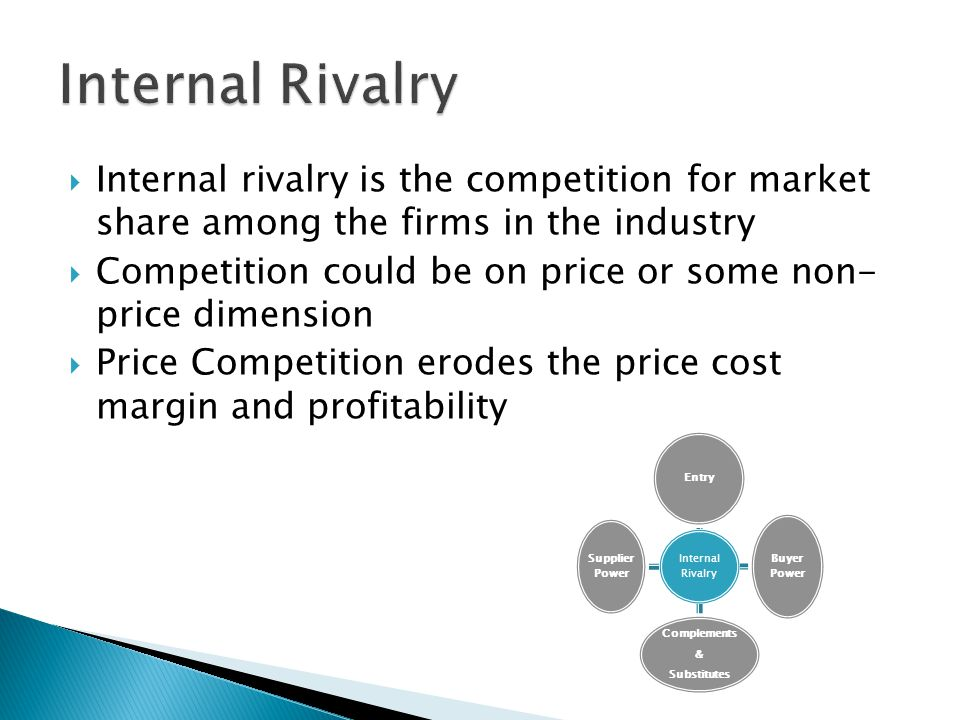 Internal Rivalry Internal rivalry is the competition for market share among the firms in the industry.