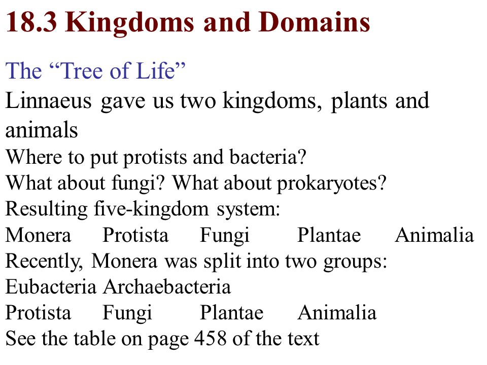 18.3 Kingdoms and Domains The Tree of Life