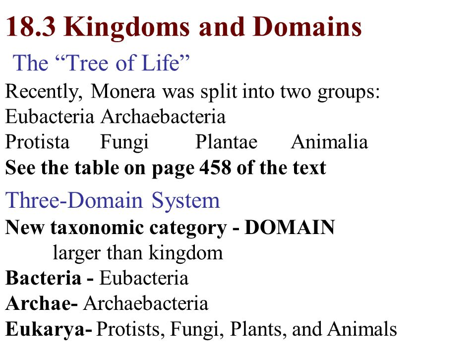 18.3 Kingdoms and Domains The Tree of Life Recently, Monera was split into two groups: Eubacteria Archaebacteria Protista Fungi Plantae Animalia See the table on page 458 of the text