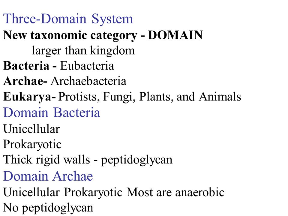 Three-Domain System New taxonomic category - DOMAIN