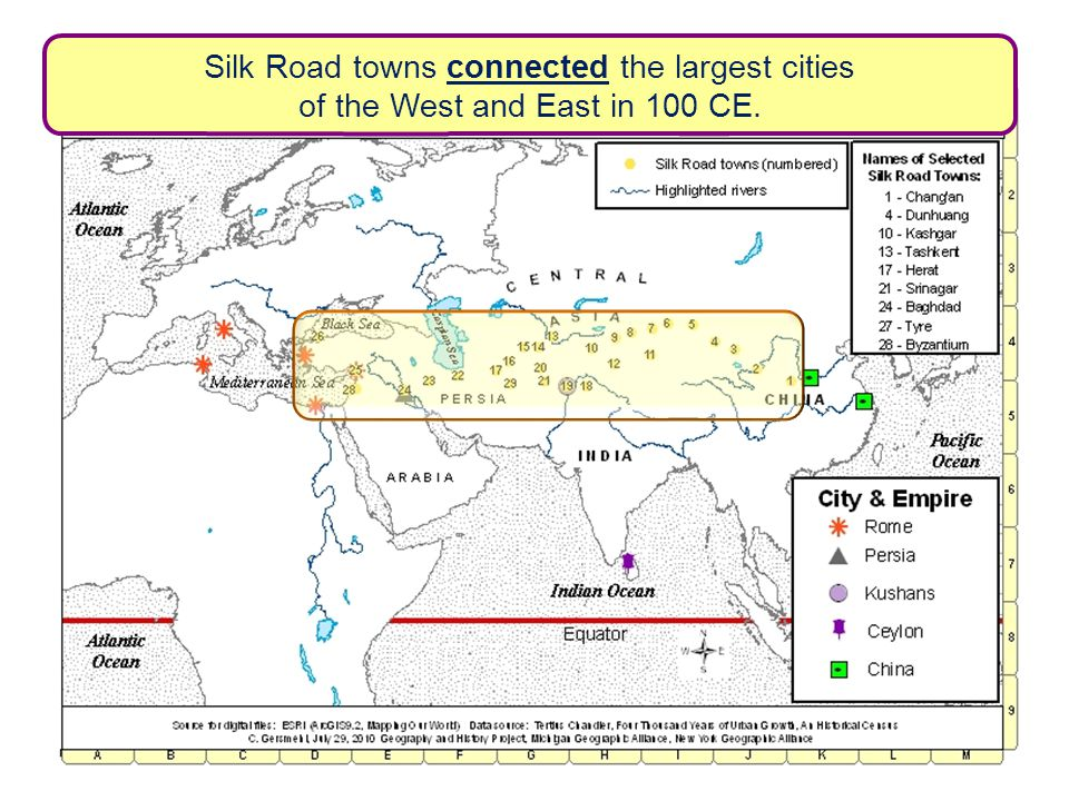 Silk Road towns connected the largest cities of the West and East in 100 CE.