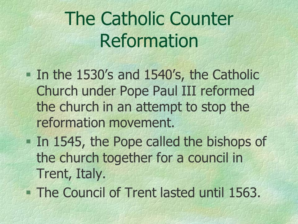 the catholic reformation The catholic reformation was a counter reformation to try and persuade people who left the church to come back and to ensure catholics would remain catholic compare and contrast the luthern reformation and the catholic reformation of the 16th century regarding the.