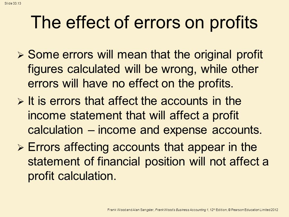 The effect of errors on profits