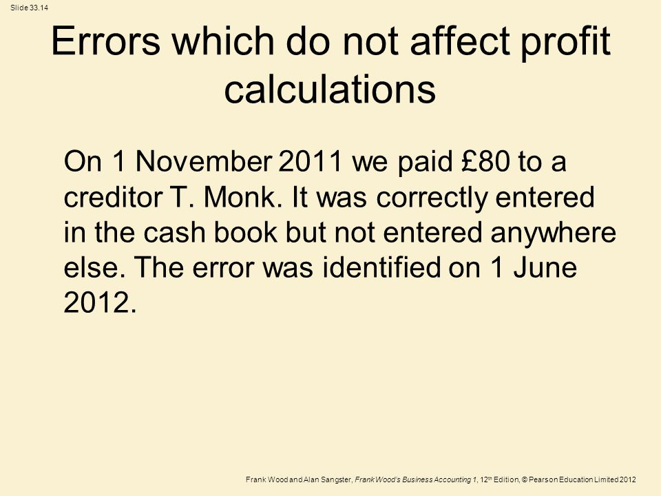 Errors which do not affect profit calculations