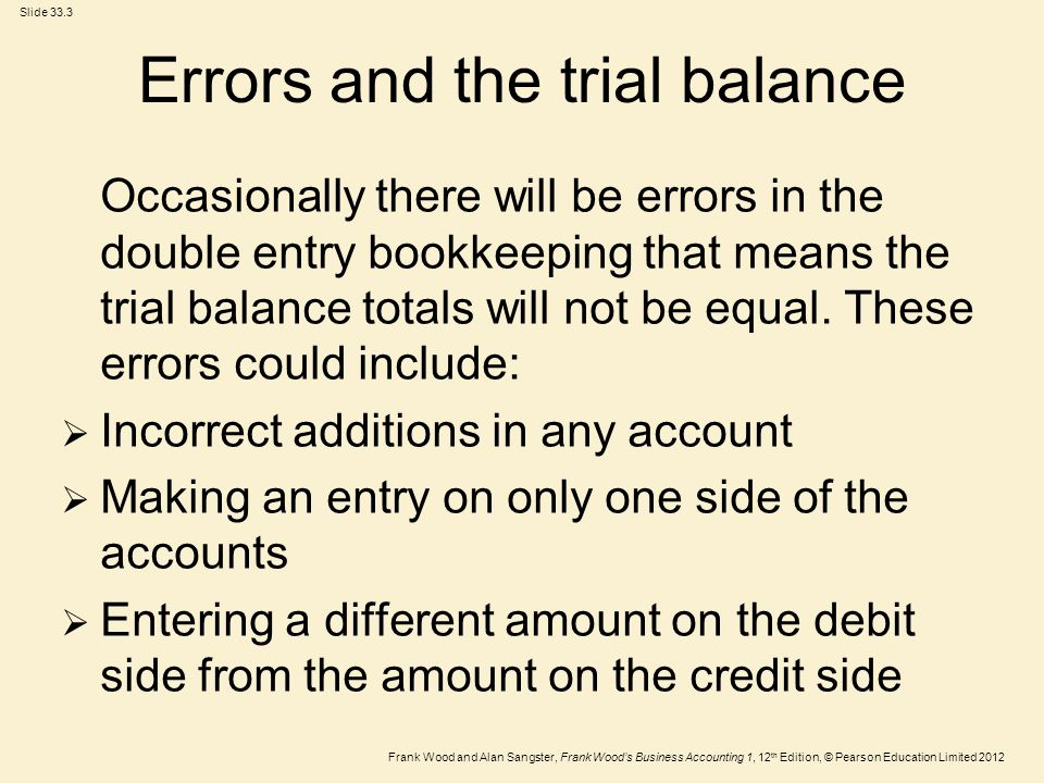 Errors and the trial balance