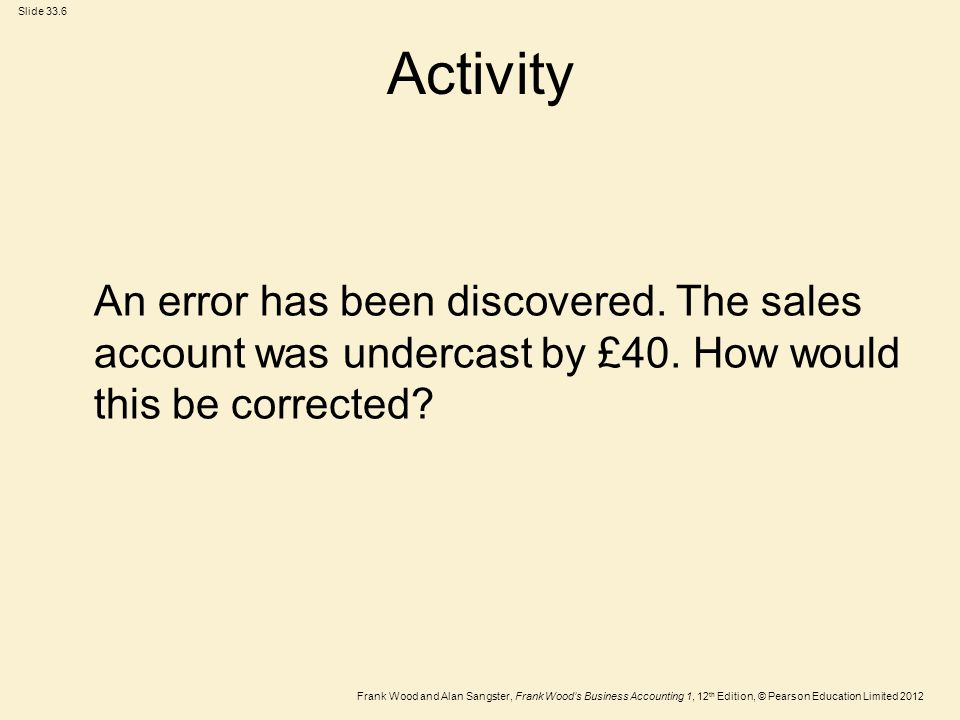 Activity An error has been discovered. The sales account was undercast by £40.