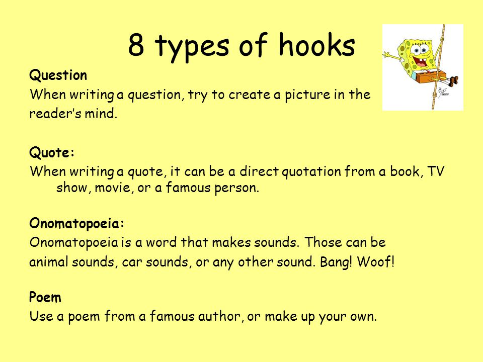 types of hooks for essays