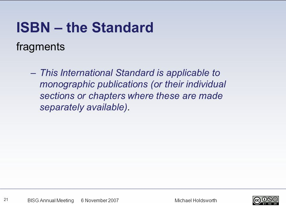ISBN – the Standard fragments