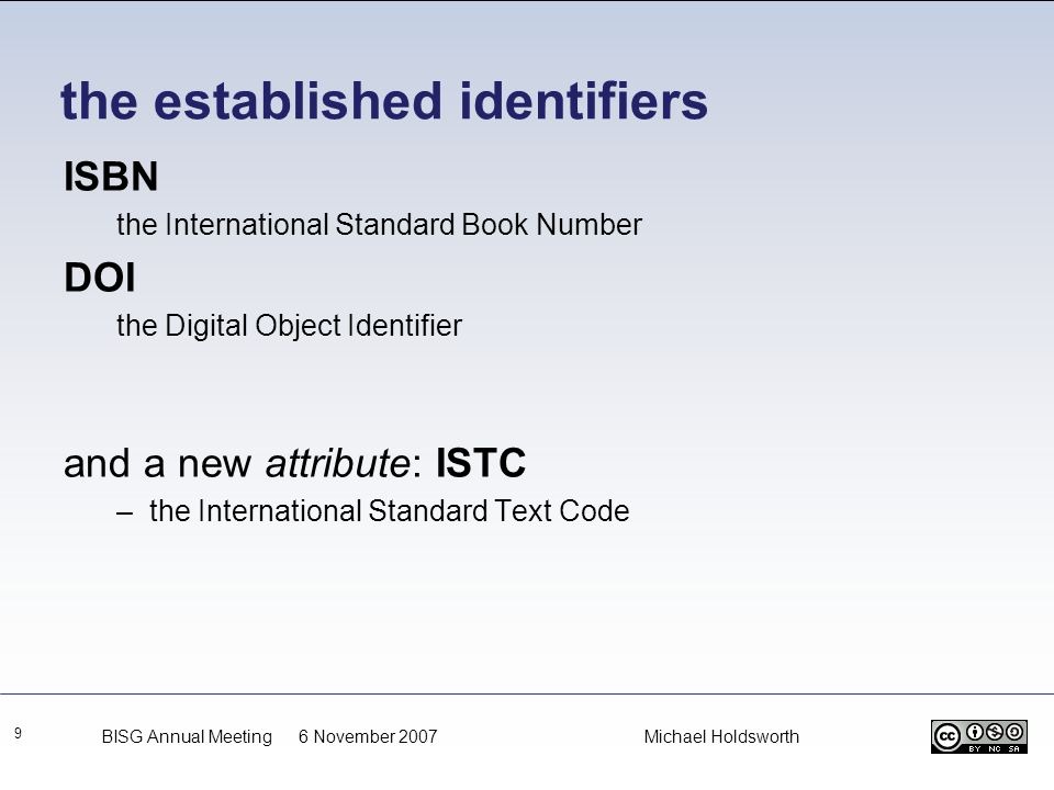the established identifiers