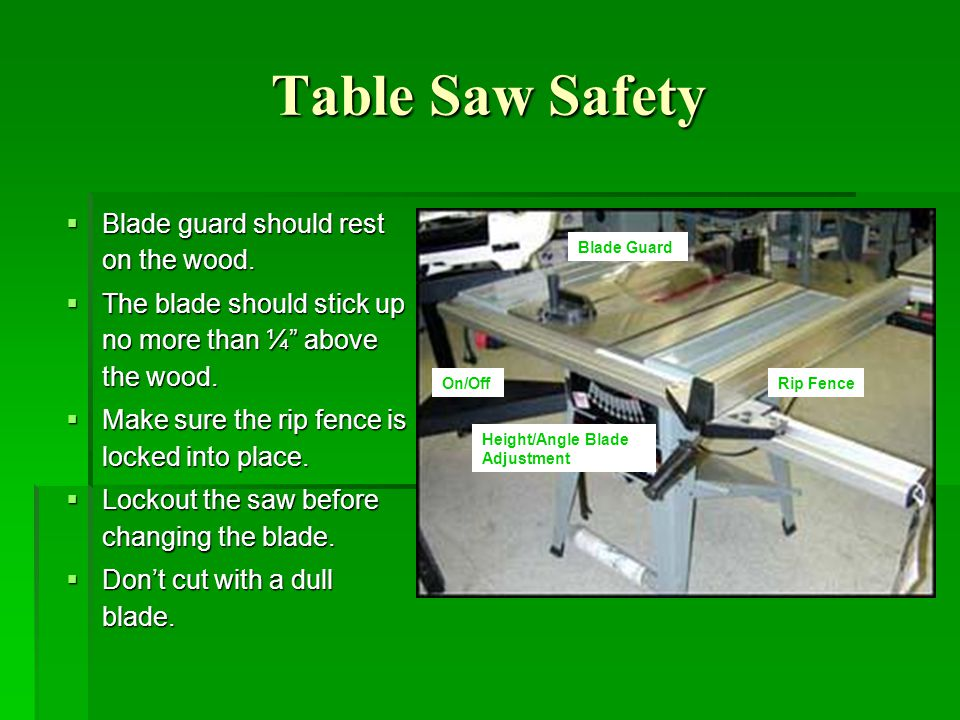 Table saw safety training ppt video online download 9 table greentooth Image collections