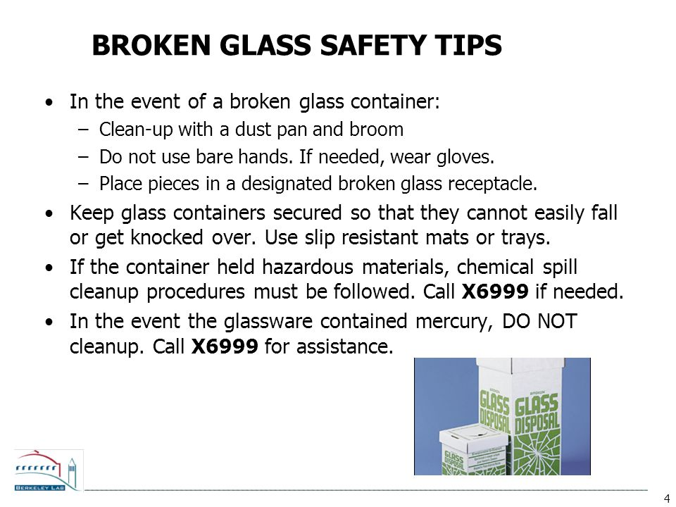 BROKEN GLASS SAFETY TIPS