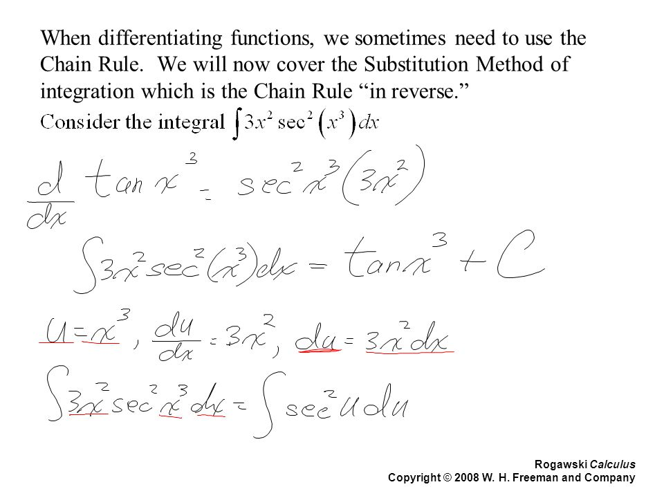 When differentiating functions, we sometimes need to use the Chain Rule. We will now cover the Substitution Method of integration which is the Chain Rule in reverse.