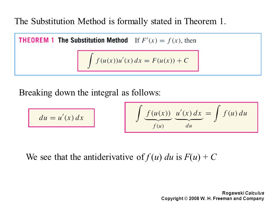 The Substitution Method is formally stated in Theorem 1.