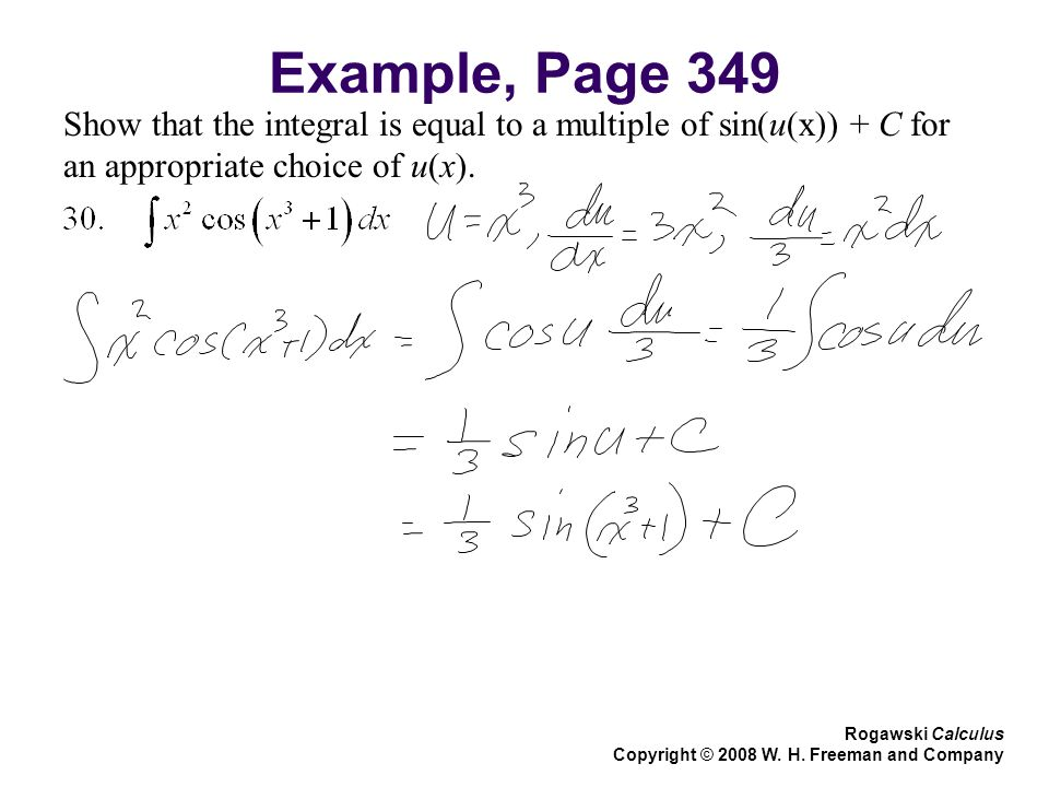 Example, Page 349 Show that the integral is equal to a multiple of sin(u(x)) + C for an appropriate choice of u(x).