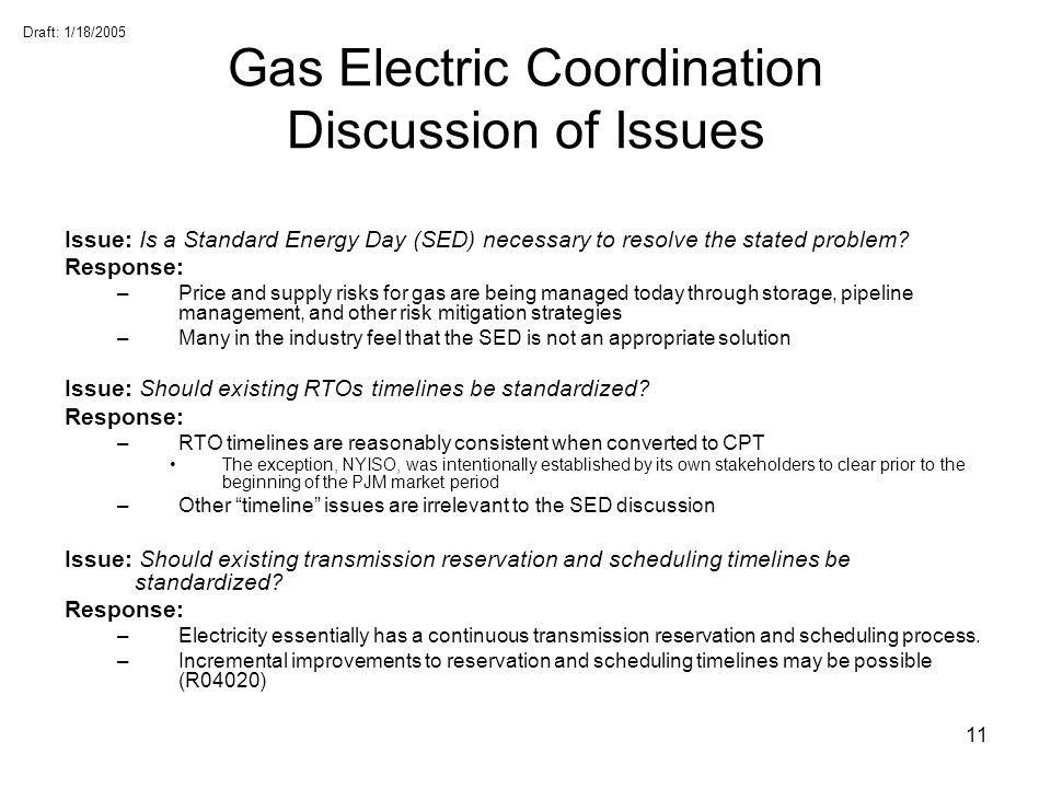 Gas Electric Coordination Discussion of Issues